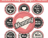 Mother's Day Bottle Cap Image Sheet - Best Mom Sayings Retro - 1 Inch Circles Digital Collage - Instant Download - NO.241
