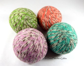 Wool Dryer Balls - Sherbet Tweed Swirl - Set of 4 Eco Friendly - Can Be Scented or Unscented