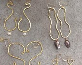 BRASS hammered earrings in all shapes. Gold or sterling ear wire, yellow brass thick hand formed earrings