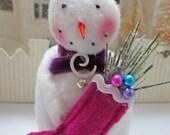 Unique Handmade Christmas  Snowman Ornament