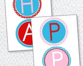Retro Cherry Party PRINTABLE Happy Birthday Banner (INSTANT DOWNLOAD) by Love The Day