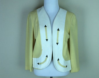 60s Yellow Jacket / 1960s Wool Crop / White Leather Jacket / Arrow Susan Thomas Top M
