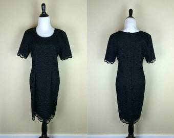 90s Lace Dress / 1990s Black Lace Dress / Fitted Mini Dress / Short Sleeve Black Dress / My Michelle M L