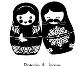 Custom Wedding Portrait in Russian Nesting Doll Style in Your Choice of Color