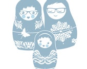Custom Family Portrait in Russian Nesting Doll Style with Your Choice of Color