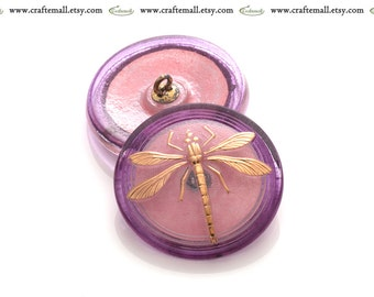 50% OFF SALE: Handmade Czech glass button - 31mm pink and gold dragonfly button - 15045/14