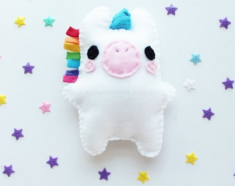 Unicorn Plush - Cute Softie , Kawaii Plushie, Children's Toy, Decorative Pillow, His and Hers Gift