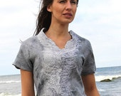 Felted blouse low price grey silk merino wool fairytale shades mini nunofelt stylish Regina Doseth handmade in Lithuania EU
