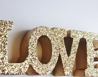 LOVE GLITTER GOLD Sign Letters Free Standing Glittered Valentine's Day Wedding Sign Valentine Decor Letter Love Dessert Table Decoration