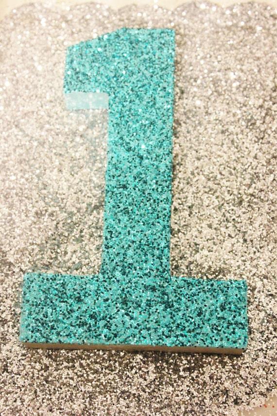 Aqua Glitter Number Turquoise Teal Numbers Aqua Blue