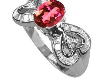 pink tourmaline diamond ring 18k white gold