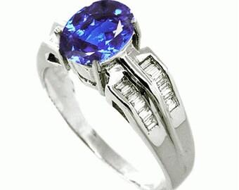 tanzanite  diamond ring  18k white gold