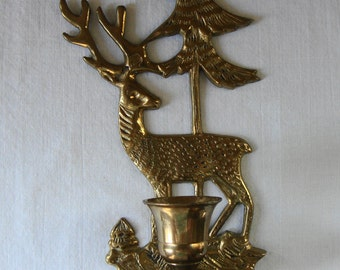VINTAGE CHRISTMAS Tree Reindeer Candle Holder Holiday Nightlight Cast Brass Scenic Holiday Deer Candle Holder Winter Deer Christmas Decor