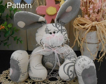 PDF E- Pattern Shabby Chic Bunny Rabbit Doll # 86 Raggedy Spring Folk Art Primitive Sewing Craft