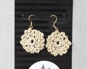 Metallic Mocha Crochet Earrings , Circle Shape Earrings, Cream Bohemian Jewelry, Boho Earrings, Cotton Anniversary 2nd gift for her