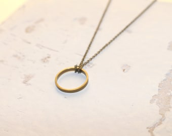 Eternity Necklace, Brass Antique Necklace, Halo Ring Necklace, Simple Dainty Jewelry Everyday Necklace