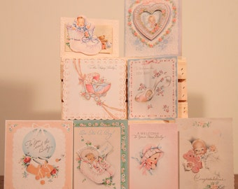 Group of 8 - 1940s-50s Vintage New Baby Cards - Heart, love, Shoes, Spoon, Hat, Congratulations