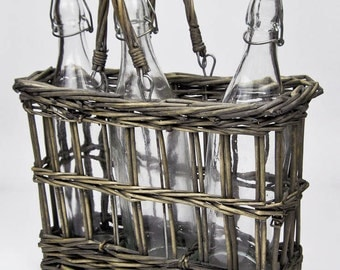 French Wicker Bottle Carrier, Three Old Glass Bottles, French Farmhouse, Rustic Kitchen Decor