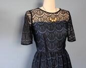 Black Lace Dress, Evening Dress, Formal Dress, Cocktail Dress, Lace Dress, Size Medium