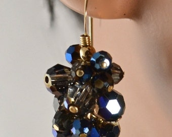 LP 1198  Dark Indigo Swarovski Crystal Earrings