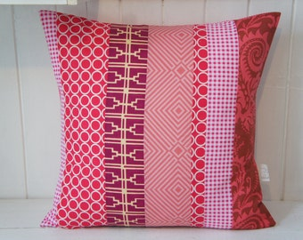 Patchwork Pillow Cover, 20x20, pink, Fuchsia