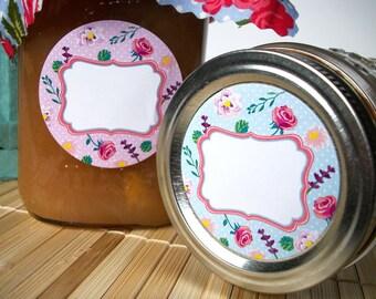 Cottage Chic Flower Canning jar labels, round mason jar labels for fruit vegetable preservation, jam & jelly labels, pink blue orange green