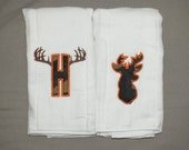 Baby boy hunting burp cloth set personalized hunting burp cloth baby boy camo burp cloth set