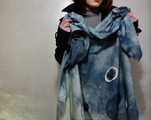HAND DYED COTTON Scarf  Hand Written grow Text And Hand Painted Circles  Ocean Blues And Greens