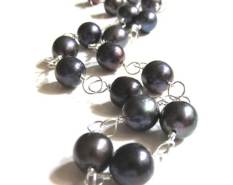 Black Cultured Freshwater Pearls Hand Wire Wrapped in Sterling Silver ~ Artisan Handmade Necklace