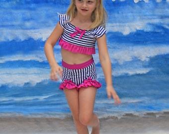 SUMMER 2015 CLEARANCE SALE!!! High Waisted Crop Top Bikini in Navy Stripe (Size 5 - 12)