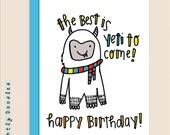Yeti, Punny Birthday Card,  Funny Yeti 4.5 x 5.5 birthday greeting card.