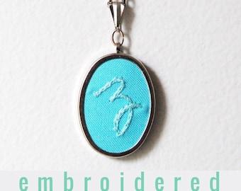 Cursive Initial Necklace. Monogram Pendant. Embroidered Necklace. Mommy Necklace. hand Embroidery. Letter Necklace. Personalized Jewelry.
