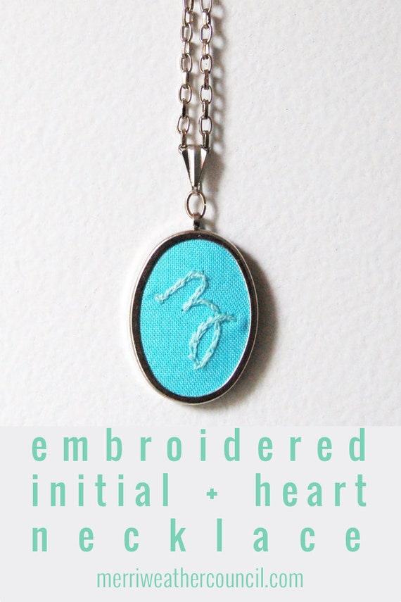 Personalized Gifts. Initial Necklace. Hand Embroidery. Personalized Jewelry. Initial Charm. Colorful Monogrammed Gifts for Her under 50