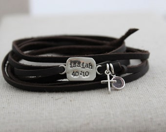 sterling silver and leather wrap charm bracelet | teen gift | custom stamped word bracelet | birthstone bracelet | scripture jewelry