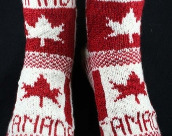 KNITTING PATTERN for Flag Socks: Canada - Sock pattern - Charted pattern - digital download - Colorwork pattern - Maple leaf - Stranded