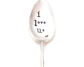 I LOVE US.  Coffee Spoon. Teaspoon. The Original Hand Stamped Vintage Coffee and Espresso Spoons™ by Sycamore Hill, Coffee and Love Inspired