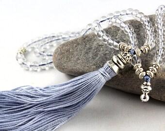 Quartz Mala, Mala Beads, Prayer Beads, Gemstone Mala Beads, 108 Mala Beads, Tassel Mala, Tassel Necklace, Crystal Mala, Yoga Jewelry, Zen