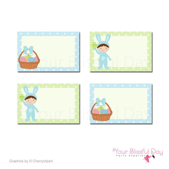 PRINTABLE Boy Easter Bunny Party Label Tents (Character of your choice) #412