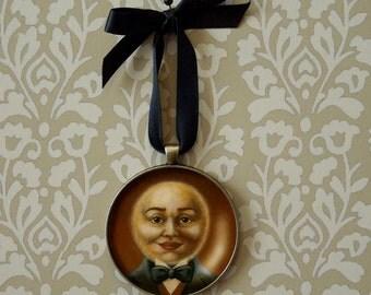 Moon Ornament - Moon Man Portrait Miniature - Victorian Moon Ornament - Full Moon - Blue Moon