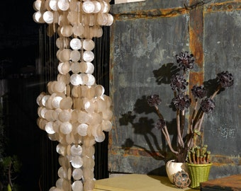 """Vintage Ivory White Capiz Shell 3-Tier Chandelier: Delicate, Elegant, Mid Century 6ft x 18"""" Panton Style Hanging Swag Lamp, Fantastic Cond."""