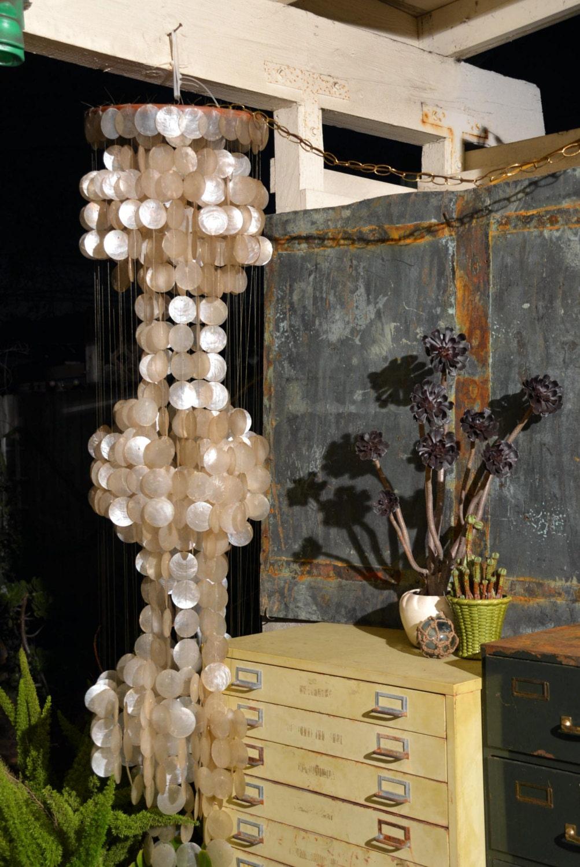 Vintage Ivory White Capiz Shell 3 Tier Chandelier Delicate