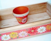 TabletopTray Cedar Planter Zinnia Hand Painted Home Decor, Outdoor Room Decor