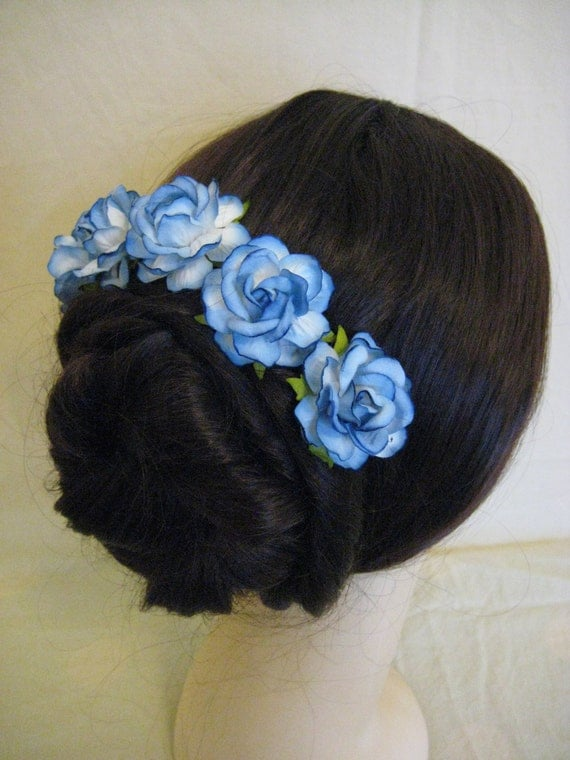 Hairpins x 5 Blue Paper Roses. Bridal, Regency, Victorian.