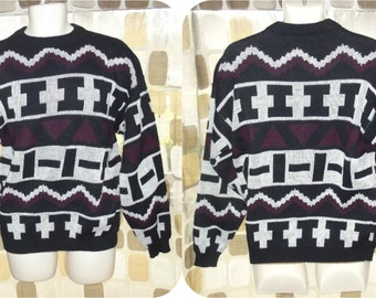 Vintage 80s Geometric Triangle Colorblock UGLY Sweater Knit 90s Hipster Pullover MEDIUM Purple Black White