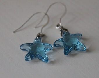 Starfish Earrings, Sterling Silver Earrings, Beach Wedding, Starfish Jewellery, Swarovski Crystal Earrings, Aquamarine Blue, Inspired Scilly