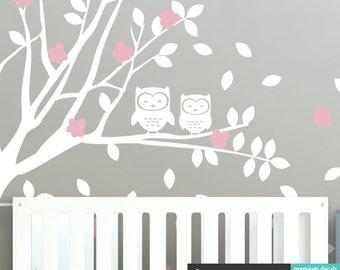 Owl Tree Wall Decal Set, Baby Nursery Wall Decals WAL-2106