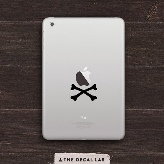 Apple Pirate Crossbones Vinyl iPad Decal BAS-0128