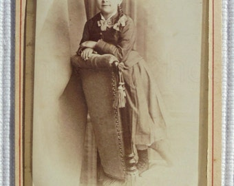 Antique French CDV Photograph - Young Girl Stood on a Chair (A. Blin, Paris, France)