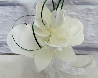 White orchid wedding corsage, Mother of the bride corsages, wrist corsage