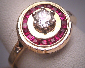 Antique Ruby Diamond Wedding Ring Vintage Art Deco 1930 Engagement .42ctw